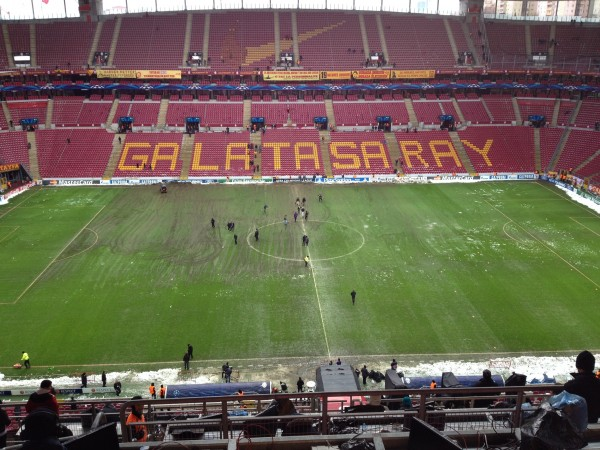 The pitch after the snow. Note the localised damage on one side. (Pic: Eliot Rothwell)