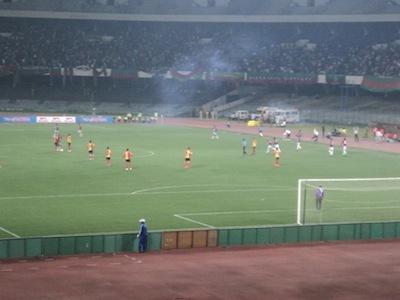 Mohun Bagan fans let off a smoke bomb. Picture: Soham Samaddar