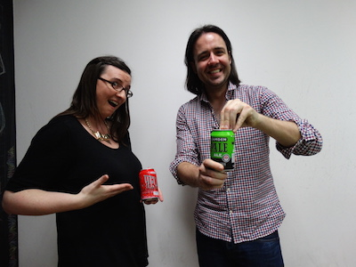 James Horncastle prepares to open a can of whoopbottom on Laura Jones.