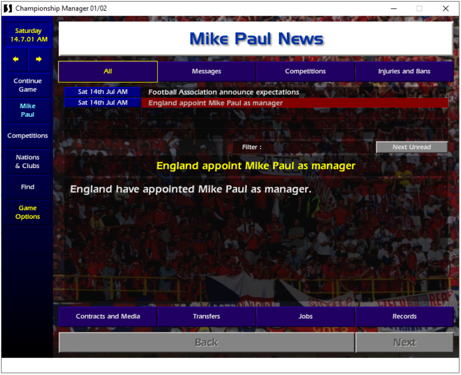 Mike Paul, England manager