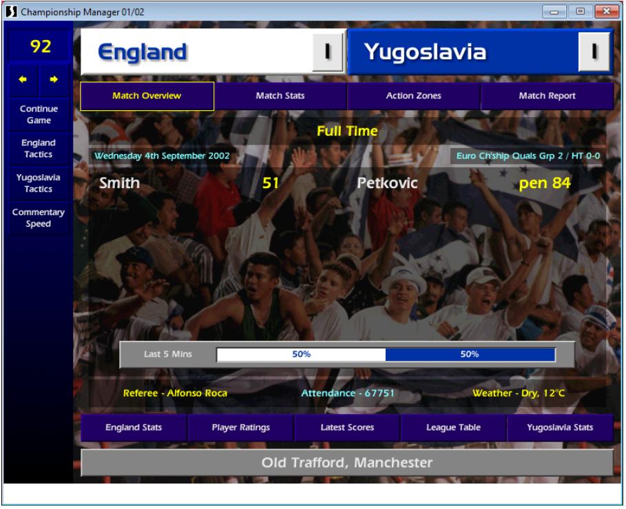 England v Yugoslavia, CM01/02