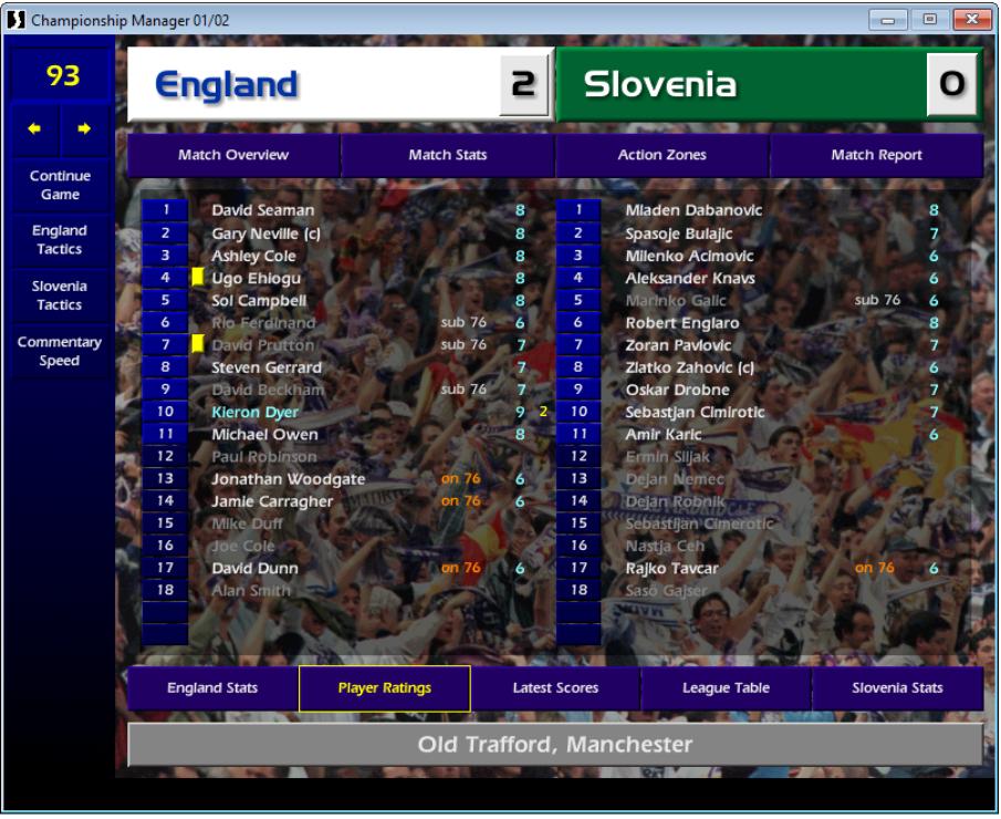England 2 Slovenia 0, CM01/02