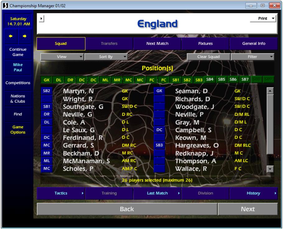 England squad CM01/02