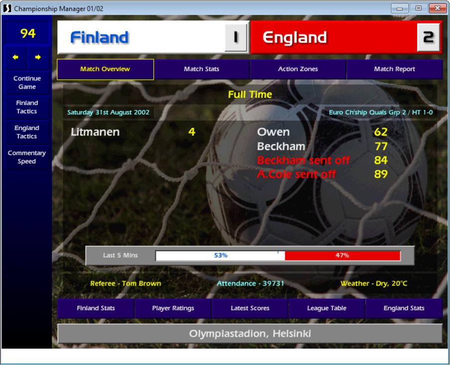 Finland v England, CM01/02