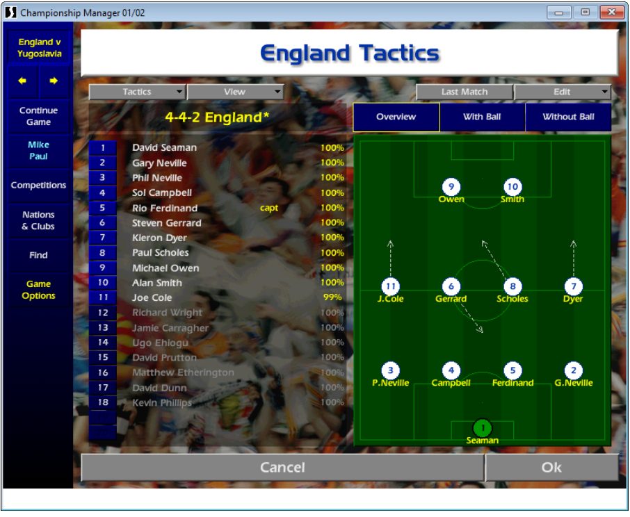 England tactics, Mike Paul CM01/02