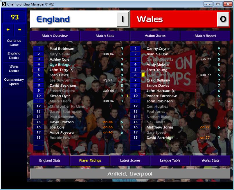 England 1 Wales 0, CM01/02