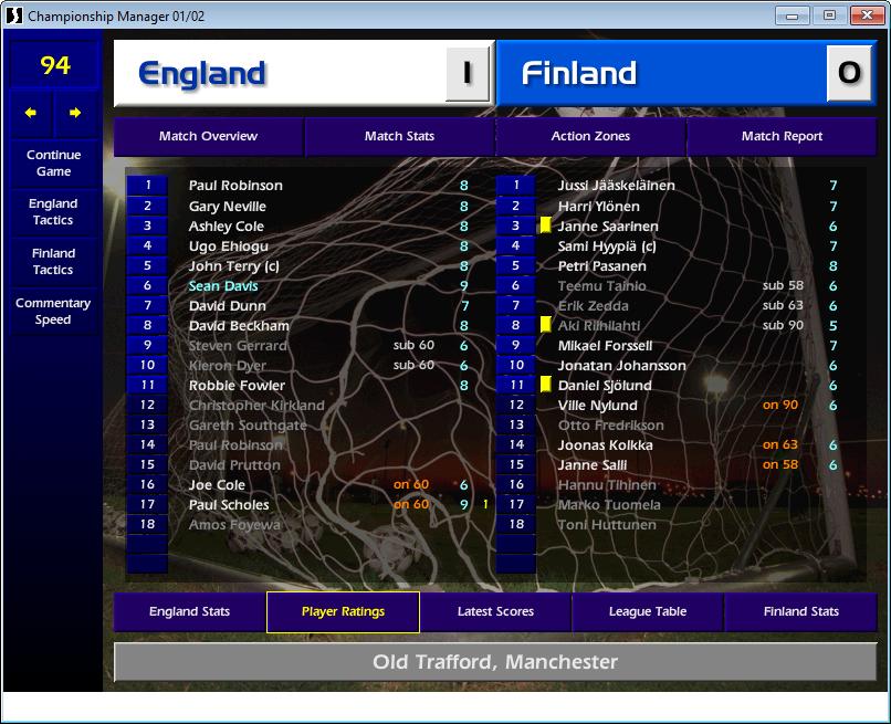 England 1 Finland 0, CM01/02