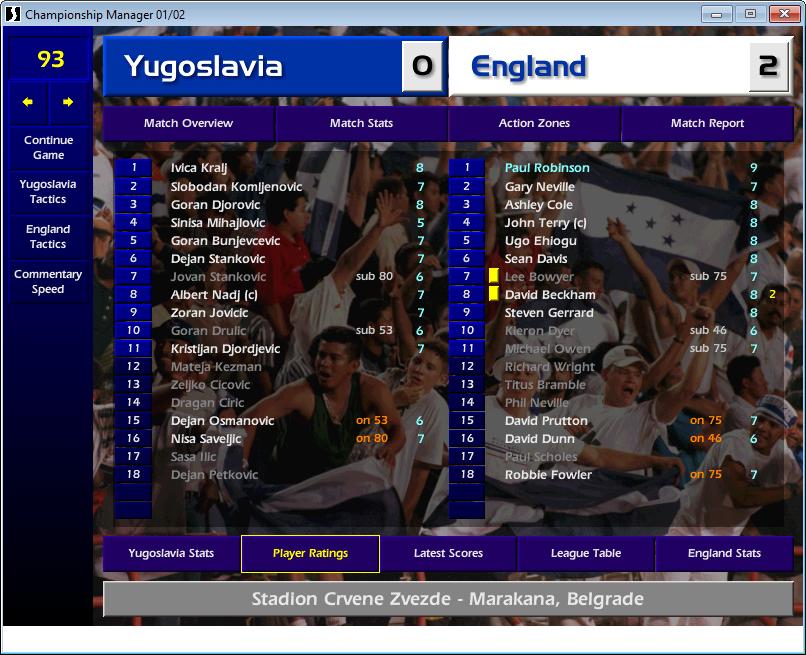 Yugoslavia 0 England 2, CM01/02