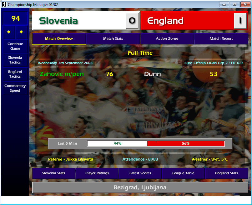 Slovenia 0 England 1, CM01/02