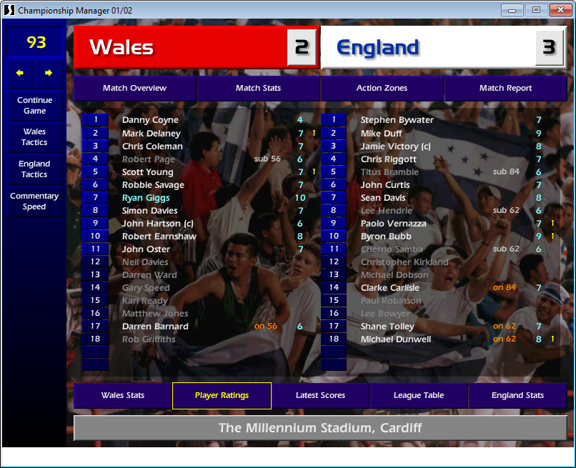 Wales 2 England 3, CM01/02
