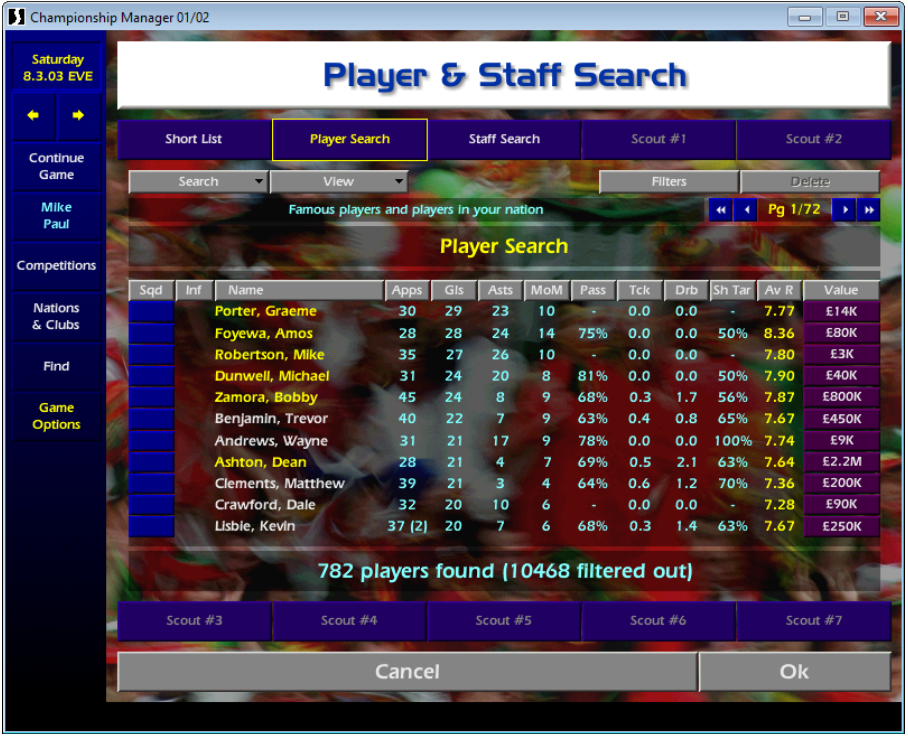 England player search CM01/02
