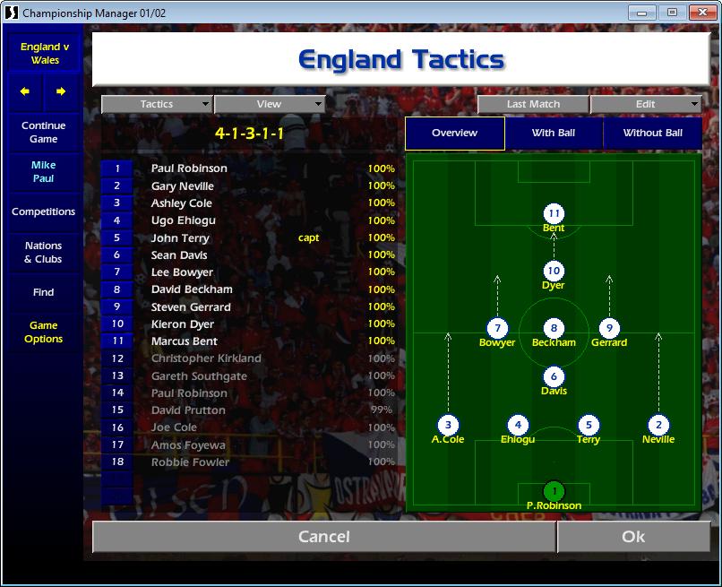 England tactics CM01/02