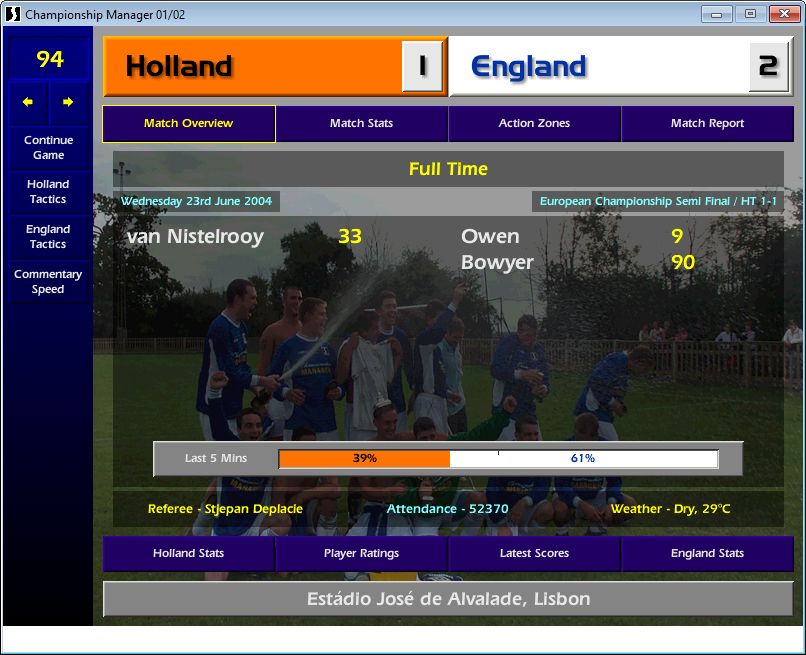 Holland 1 England 2
