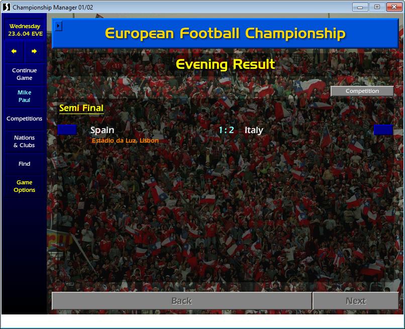 Spain 1 Italy 2, Euro 2004